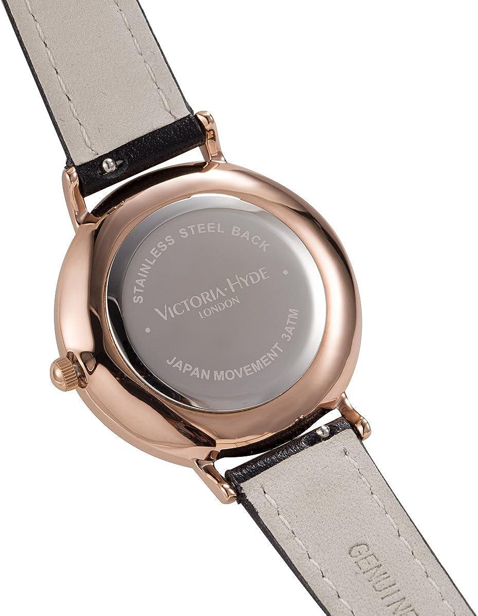 VICTORIA HYDE Women Watches Quartz Easy Read Genuine Leather Strap Stainless Steel Mesh Band Detachable Ladies Wristwatch Gift Black