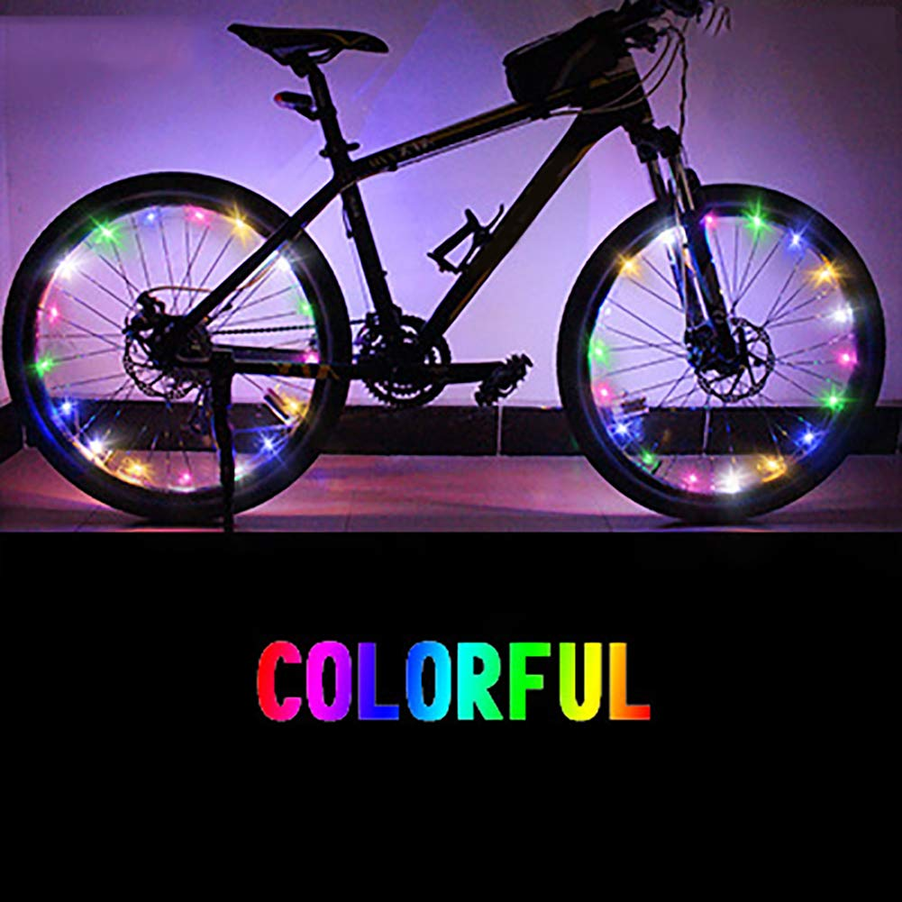 XQxiqi689sy Bicycle Bike Cycling Safety Wheel Spoke Wire Tire Valve LED Light Colorful Lamp