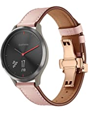 Genuine Leather Band Replacement for Garmin Vivomove HR Smartwatch, Designer Bands with Butterfly Clasp