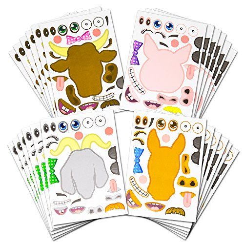 24 Make A Barnyard Farm Animal Stickers - Great Zoo Themed Birthday Party Favors - Fun Craft Project For Children 3+ - Let Your Kids Get Creative & Design Their Favorite Animal Sticker!