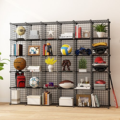 KOUSI Storage Cubes Wire Grid Modular Metal Cubbies Organizer Bookcases and Book Shelves Origami Multifunction Shelving Unit, Capacious & Customizable, Black (30 Cubes)