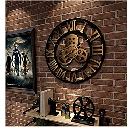 TBACE Wall Clock Wall Clock 3D Retro Rustic Decorative Luxury Art Big Gear Wooden Vintage Large Handmade Oversized Wall Clock for Gift 20 Inches A3