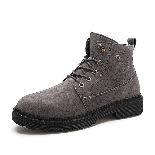 Botas para Hombre Zapatos de Invierno de Gamuza de Moda con Cordones Botas para la Nieve Botines sólidos Calzado para Hombre: Amazon.es: Zapatos y ...