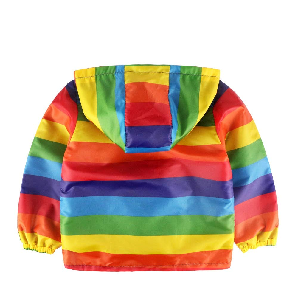 Long Sleeve Rainbow Stripe Hooded Print Coat Tops TOOPOOT Baby Girls Coats Toddler Kids Outfit Clothes