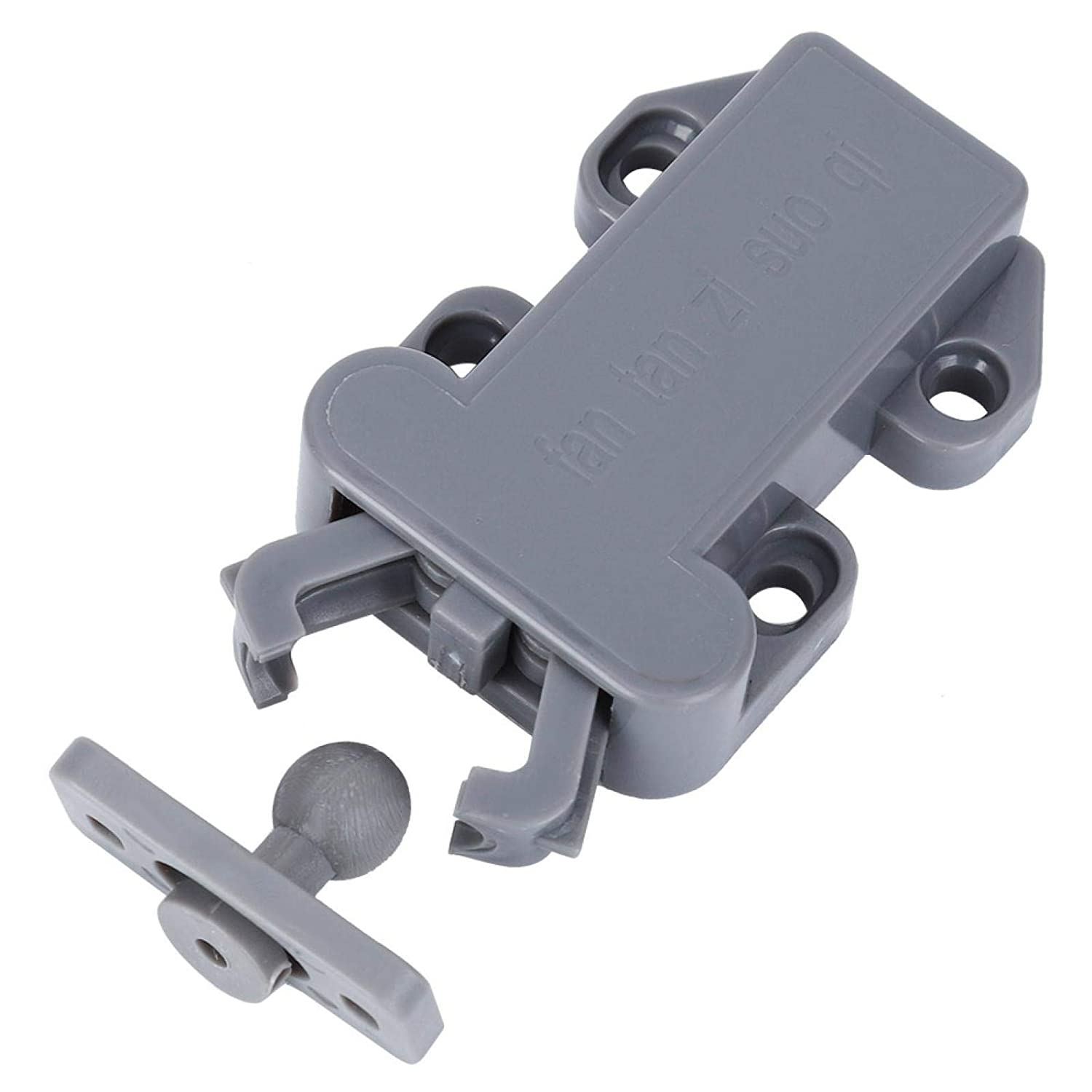 No Drill 6 Sets Cabinet Drawer Self Locking Door Latches Non-Magnetic for Furniture Automatic Pop-Up Gray