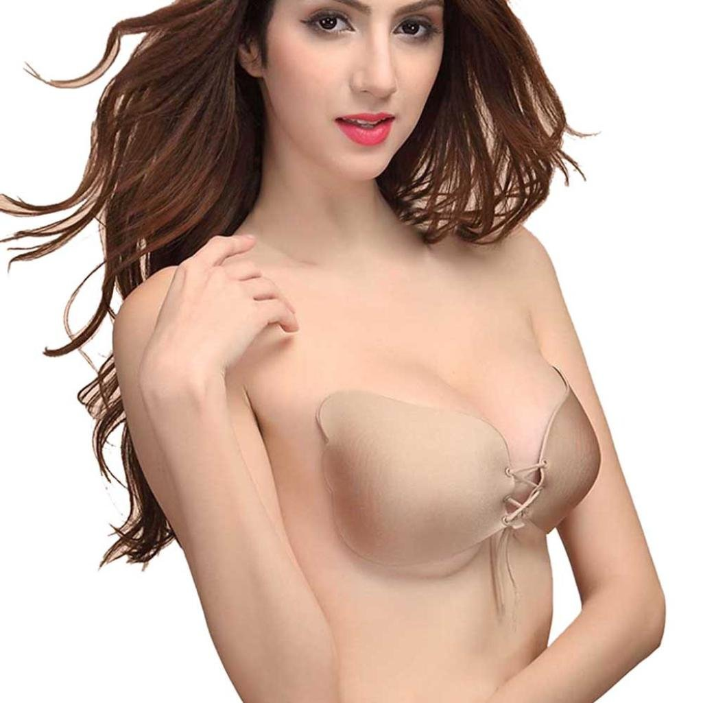 JYC - Women Instant Breast Lift Invisible Silicone Push Up Bra (A, Black)