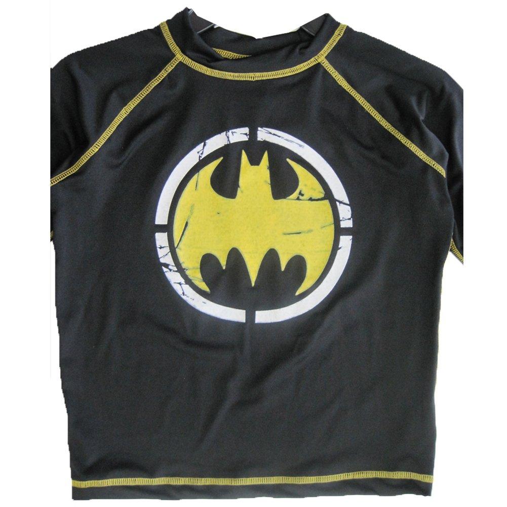 Batman Little Boys Black Stretchy Printed Swim Wear T-Shirt 6-7 ABC Brand Name Inc.