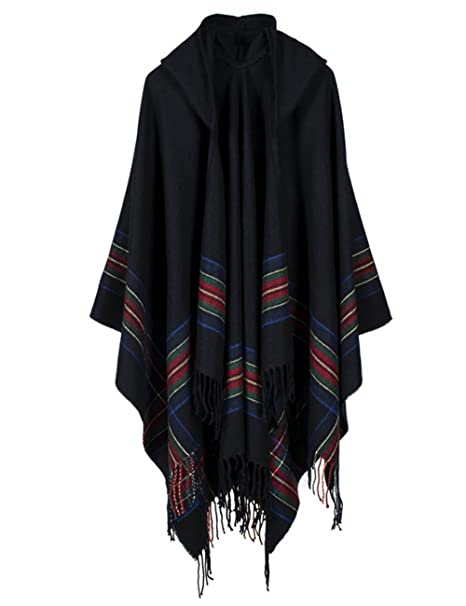 43bd8839bc2 Epsion Fashionable Open Front Poncho Capes with Hood Oversized Blanket  Shawl Cardigan Coat Black