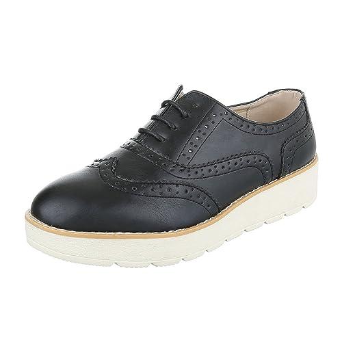 Ital-Design - Zapatos Planos con Cordones Mujer , color negro, talla 36 EU