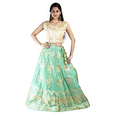 8e88aa431e1 vincentti Latest Banarsi Ethnic Traditional Semi-Stitched Lehenga–Choli set  for festival,party in Angoori Green color,women Free Size: Amazon.in:  Clothing & ...