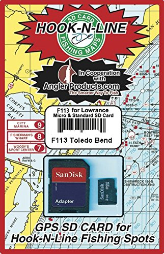 Reservoir Fishing Map - Hook N Line Toledo Bend Reservoir GPS Map SD Card with Fishing Hotspot Locations - Lowrance