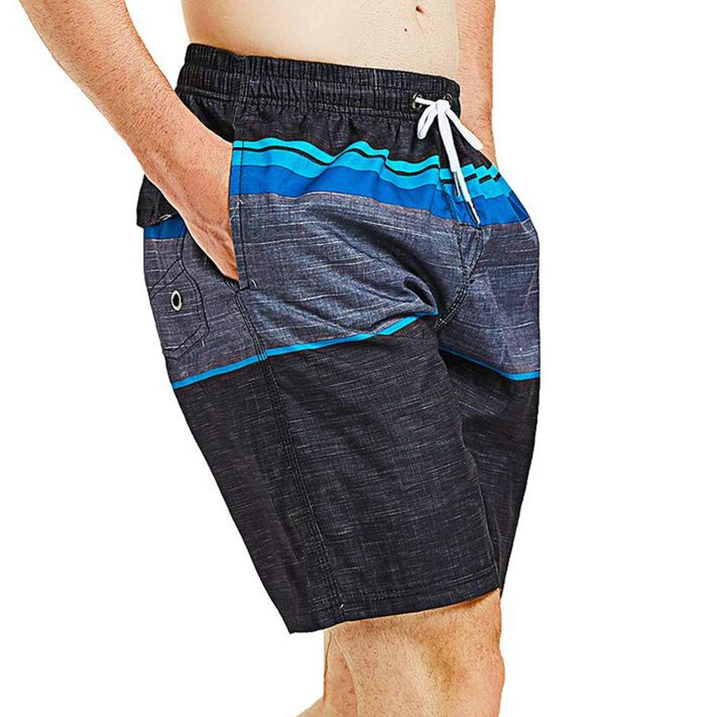 Beach Shorts for Men Forthery Quick Dry Long Elastic Waistband Swimwear Bathing Suits Surfing Trunks with Pockets
