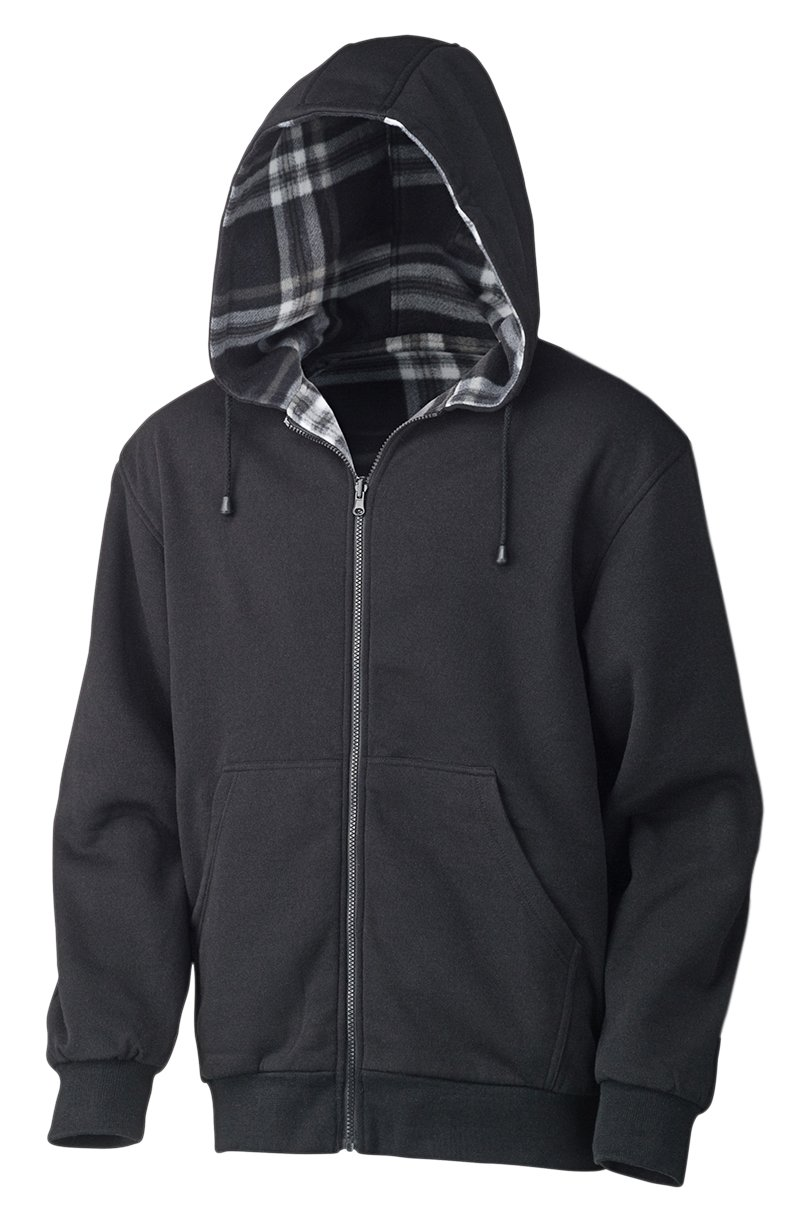 Pioneer V3080410-3XL Reversible Safety Hoodie, Fleece, Black-Grey-White Plaid, 3XL