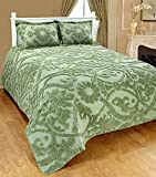 Saral Home Fashions Relief Chenille Bedspread with Sham, Full, Green