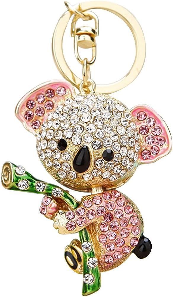 Shangwelluk Cute Rhinestone Koala Shape Pendant Keychain Charm Key Ring Keyfob