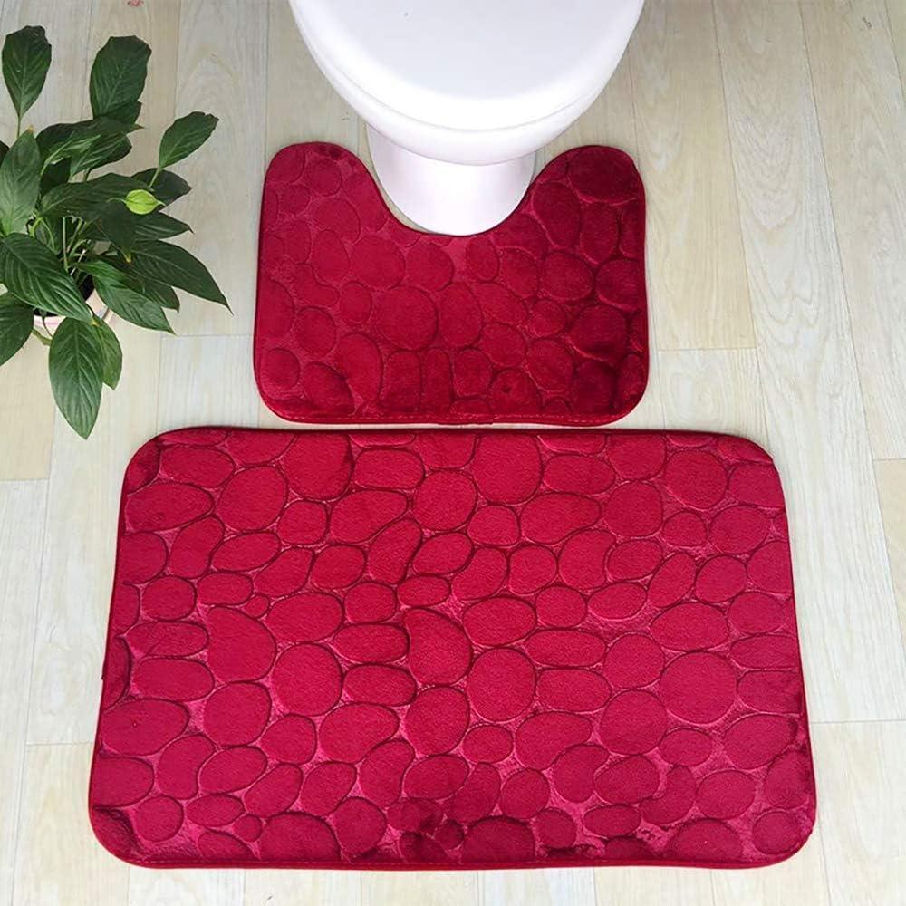 Jmwsy Ensemble de Tapis de Bain sur Pied antid/érapant Lavable en Machine Tapis de d/écoupe en U en Galets Red Absorbant leau pour Tapis de Toilettes Mousse /à m/émoire de Forme