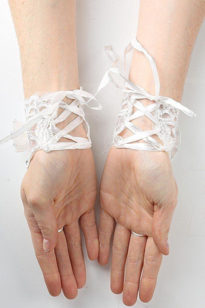 BNY Corner Flower Girl Lace Fingerless Gloves Wrist Length