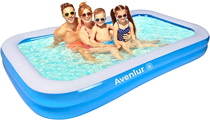 Inflatable Swimming Pool Above Ground Rectangular Quick Set Blow Up Family Paddling Pool for Kids Adults Backyard Party 120 72 20 Blue