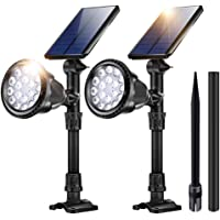 2-Pack Jsot 18 LED Waterproof Outdoor Solar Lights for Garage Deck Garden Wall (White Light)
