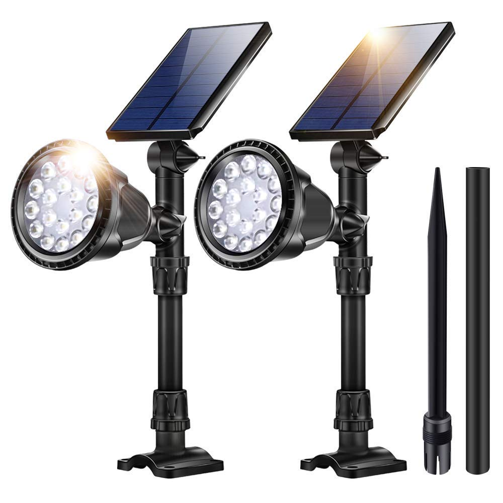 JSOT Outdoor Solar Lights,18 LED Spotlight Waterproof Landscape Lights Solar Security Lamps for Garage Deck Garden Wall Cool White 2 Pack