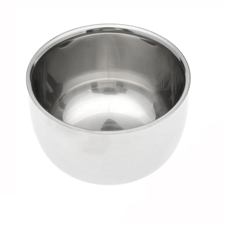 Dophee 1Pc Stainless Steel Shaving Brush Mug Bowl Soap Cream Cup Dia 7.3cm Men Travel Gift