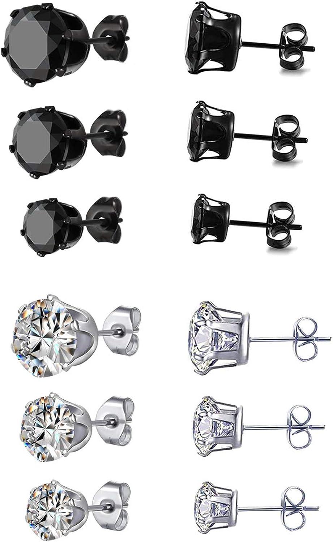 Hoeudjo Surgical Steel Mens Womens Heart Stud Earrings Clear Square /& Round Cubic Zirconia Inlaid Cross Dangle Earrings Black 6 Pairs