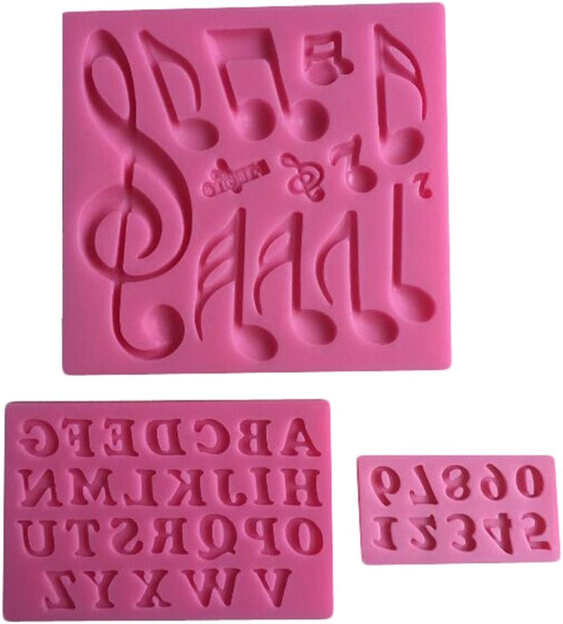 FLY 3PCS Music Note,26 English Letter,0-9 Numbers Shape Silicone Cake Mold,Pink