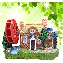 Zeroyoyo Aquarium Ornament Resin House View Oxygen Pump Windmill Fish Tank Landscape Decor Home