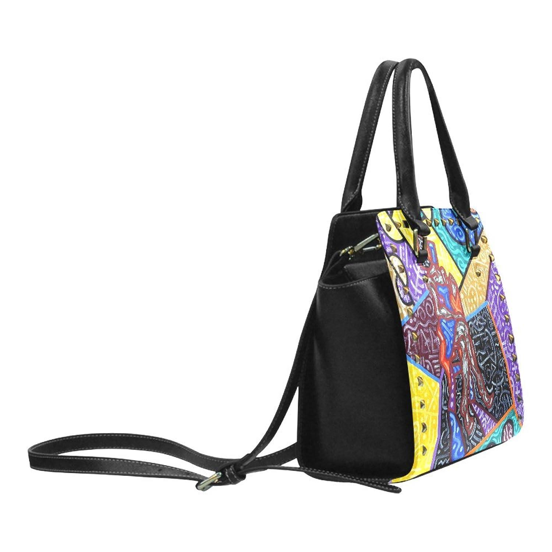 Abstract Art Rivet PU Leahter Shoulder Handbag For Fashion Women/Girls