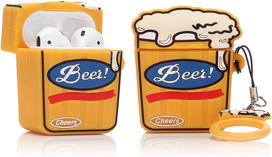 LEWOTE Airpods Silicone Case Funny Cute Cover Compatible for Apple Airpods 1&2[Beer&Drink Series][Best Gift for Girls Boys or Couples] (Cheers Beer)