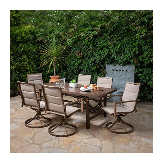 Hanover FAIRDN7PCSW6-TAN Fairhope 7-Piece Dining Set with 6 Padded Contoured-Sling Swivel Rockers Outdoor Furniture, Tan - Set includes 6 padded-sling swivel rockers and a slat-top Trestle dining table Made with all-weather materials that will bring years of carefree use Durable heavy-duty Steel frames are powder coated for weather resistance - patio-furniture, dining-sets-patio-funiture, patio - 61ScoarAm7L. SS570  -