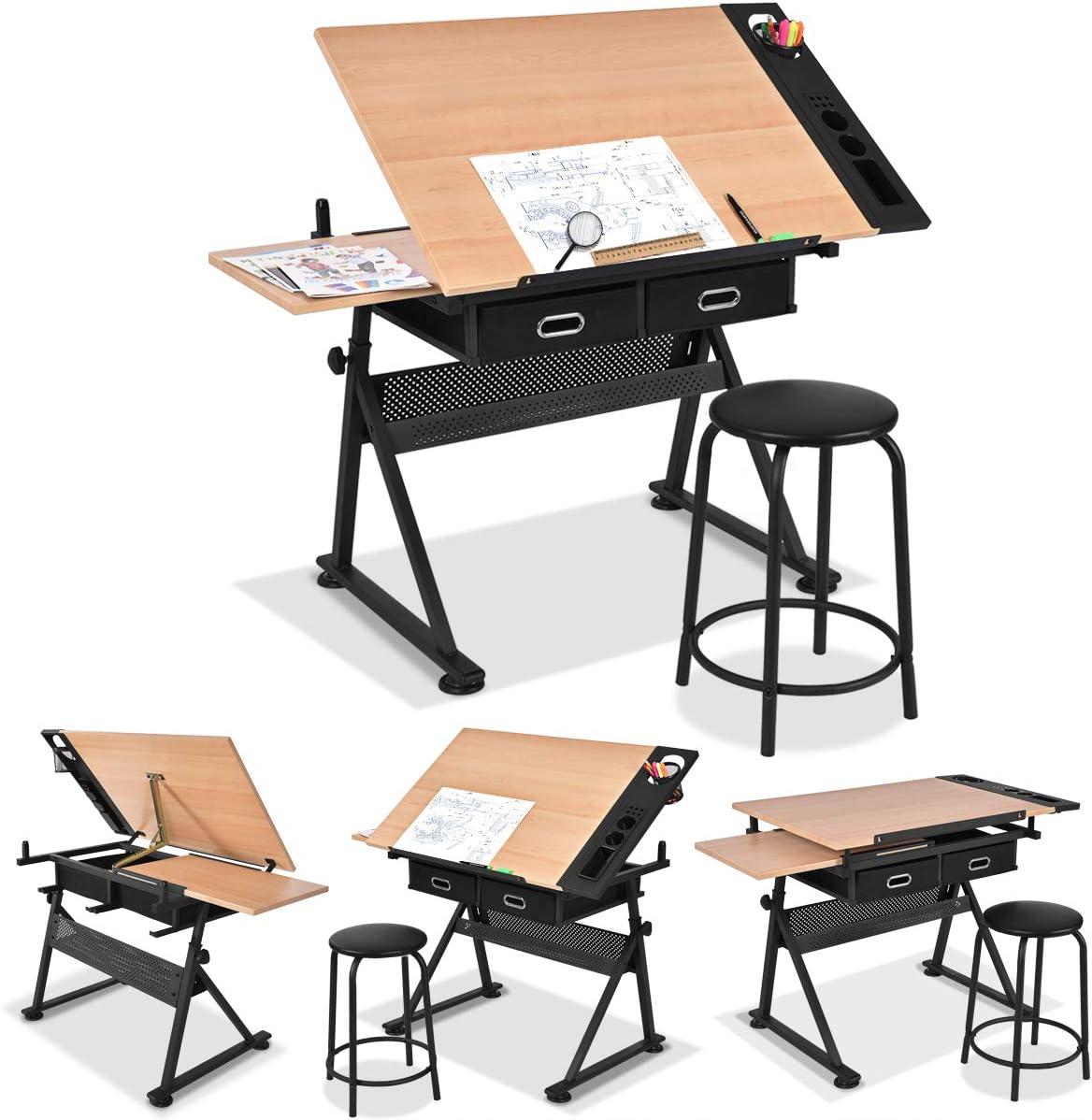 Table d/'Artiste pour Peinture Beaux-Arts /Écriture GOPLUS Table /à Dessin Inclinable et Tabouret avec Double Surface et 2 Grands Tiroirs Hauteur R/églable 65 /à 90,5 CM Artisanat Architecte