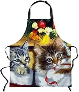 "Dellukee Women Kitchen Adjustable Bib Aprons Cats Print Cute Durable Waterproof Cooking Aprons for Home Restaurant BBQ Grill, 29.5"" x 26.3"""