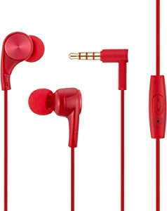 Wired Earphones with Microphone and Remote Control Compatible with Apple iPhone 6S Plus 6 SE 5S Samsung Galaxy S7 S6 Note 3 2 1/MP5 Player iOS Android (red)