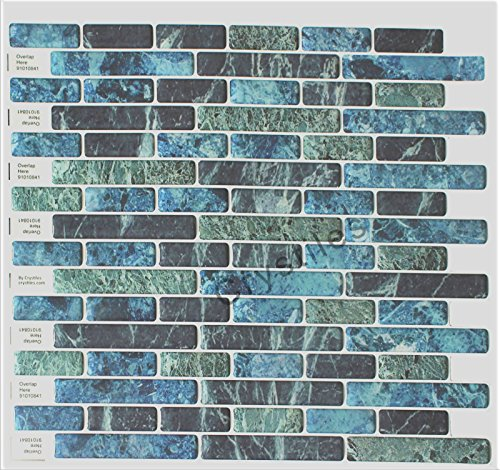 "Crystiles Peel and Stick Self-Adhesive DIY Backsplash Stick-on Vinyl Wall Tile for Kitchen n Bathroom Décor, Blue, Green, Turquoise and Black Marble, Item# 91010841, 10"" X 10"" Each, 6 Sheets Pack - Turquoise Wall Tile"