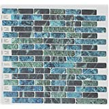 "Crystiles® Peel and Stick Self-Adhesive Vinyl Wall Tiles, Blue, Green and Black Marbling, Item# 91010841, 10"" X 10"", Set of 6"