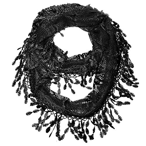 Falari Women Lace Infinity Loop Scarf With Fringes Polyester Black