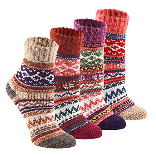 Keaza Women's 4 Pair Pack Vintage Style Cotton Wool Warm Winter Fall Crew Socks (WZ02C2) (Fall Winter Boots)