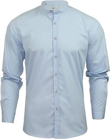 Xact - Camisa de popelina con cuello abuelo para hombre, manga larga, diseño de Nehru: Amazon.es: Ropa y accesorios