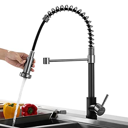 Lonheo Grifo Cocina Negro 360°Extraíble 2 Modos con Ducha Grifos de Fregadero Acero Inoxidable para Agua Caliente y Fría