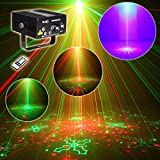 SUNY 5 Lens RG Laser Remote-Controlled Stage Lighting Red Green Laser Light with Blue LED Sound Active Use for DJ Disco Home Show Carnival Indoor Party (Red & Green)