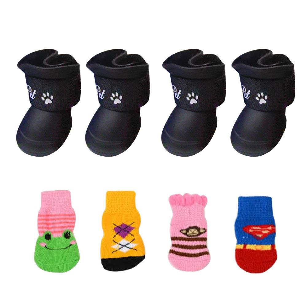Aolvo 2paires mignon étanche Chien Chaussures Chaussons Neige pluie résistant à l'eau en caoutchouc antidérapant Chaussures avec gratuit Chaussette pour Small Medium Grand Chien Chiot–Taille S/noir