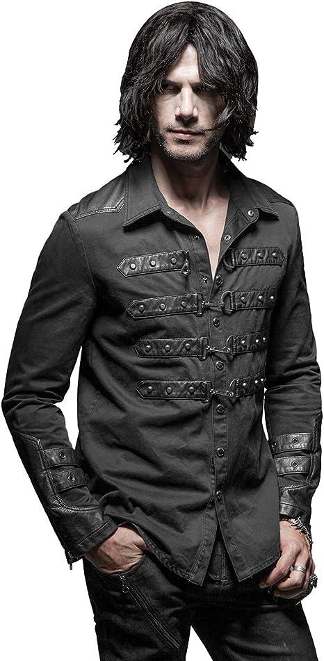 Camisas de Manga Larga para Hombre, Estilo gótico, Estilo Punk, Color Negro Negro Negro (3XL: Amazon.es: Ropa y accesorios