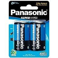 Pilha Comum Grande D com 2 Proteção Antivazamento, Panasonic, UM-1SHS128, Cinza, pacote de 2