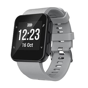 Correa de repuesto de silicona para reloj inteligente Garmin Forerunner 35., color gris: Amazon.es: Deportes y aire libre