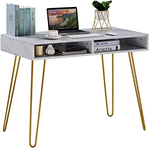 Computer Desk with Storage, Hairpin Writing Desk with 2 Spacious Open Storage Cubbies for Home Office (White Marble)