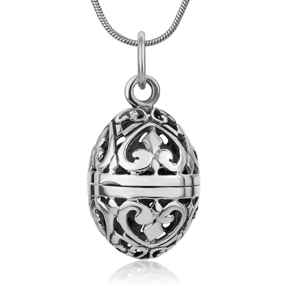 "925 Sterling Silver Filigree Aromatherapy Egg Locket Pendant Prayer Holder Pill Box Necklace 18"""