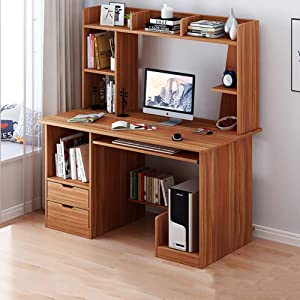 TOPYL Computer Desk with Hutch and Bookshelf,47 Inche Sturdy Office Desk Writing Desk for Home and Office,Wood Desk Pc Laptop Workstation