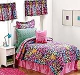 Teen Girls Multi Color Safari Jungle Leopard Print Comforter & Sheet Set, Toss Pillow and Two Window Valances) (11pc FULL SIZE Room Ensemble)