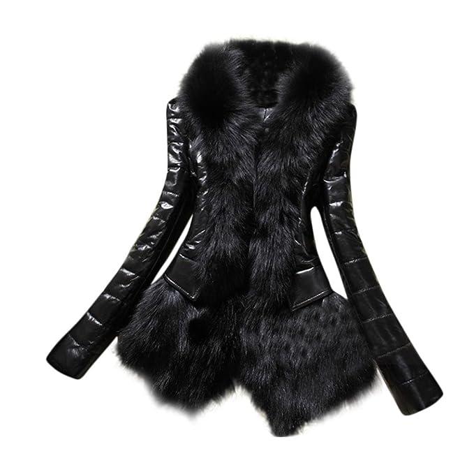 Hiroo Nuevo diseñador Mujer Otoño Invierno Abrigo de Cuello de Piel  Caliente Chaqueta Gruesa de Cuero Slim Fit Outwear Parka Chaqueta con  Capucha Fleece ... bc7296f12136